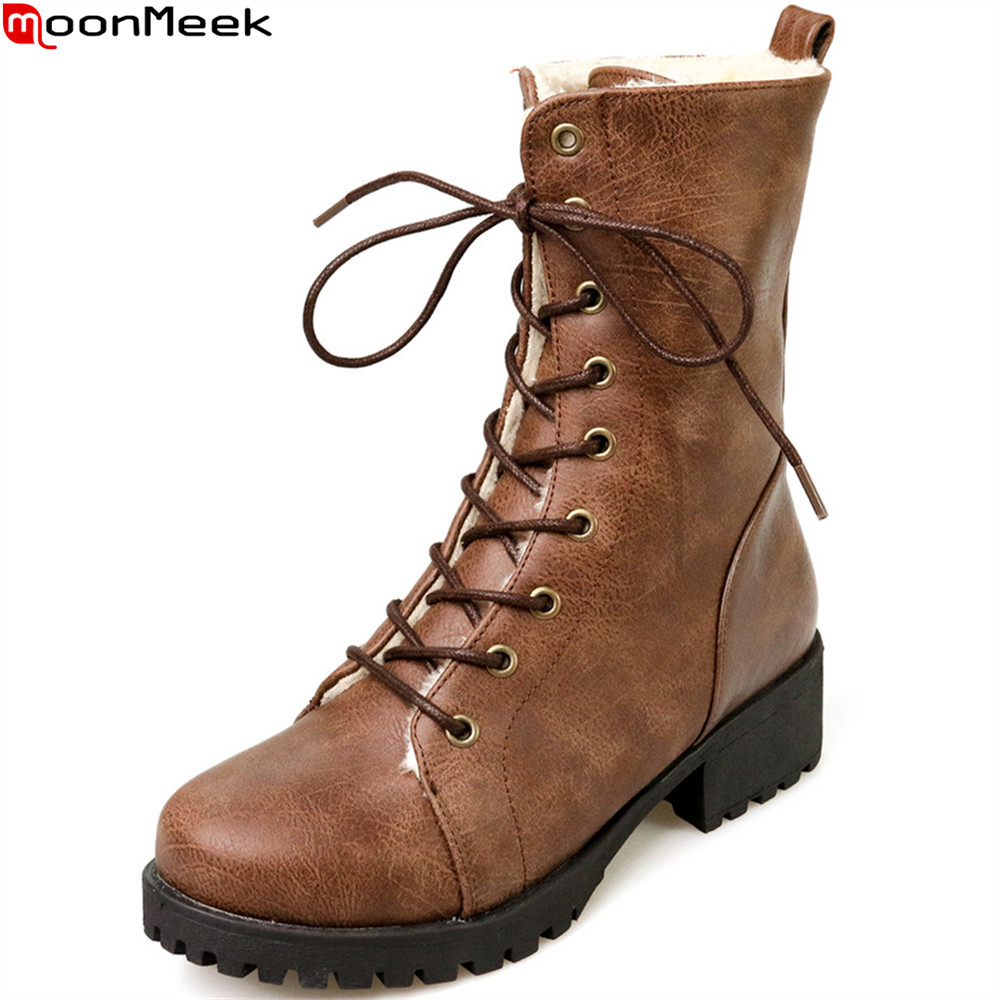 MoonMeek black brown fashion women boots round toe lace up keep warm ladies boots square heel winter ankle boots big size 33-42 2018 new arrival microfiber round toe buckle solid fashion winter boots superstar warm thick heel handmade women ankle boots l01