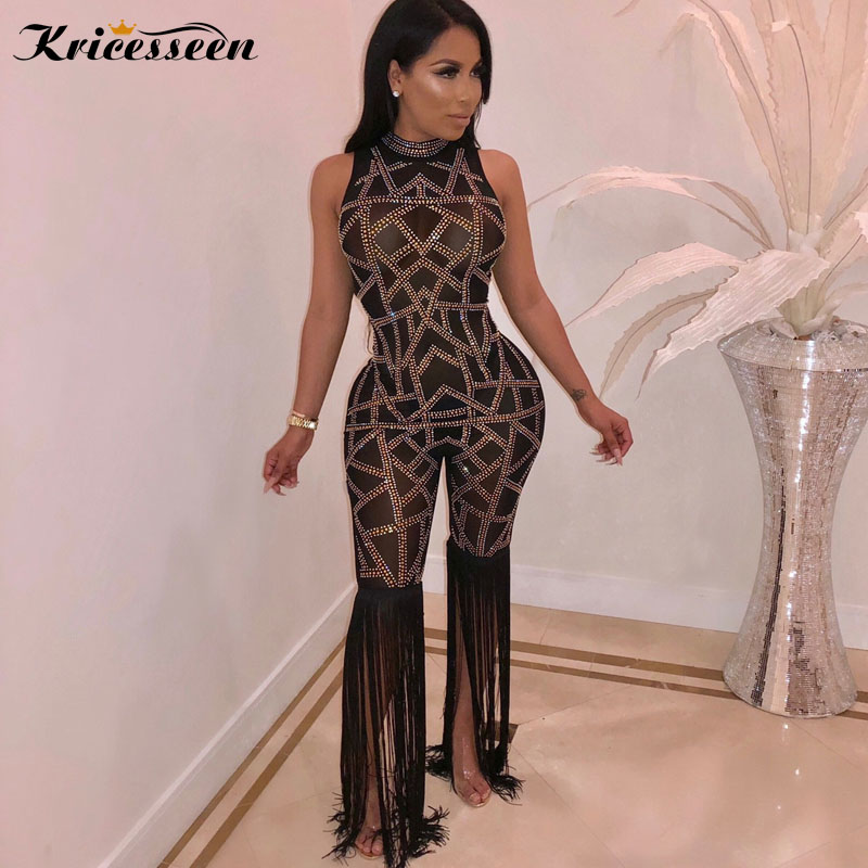 3a3918f25c1 Kricesseen Sexy Rhinestone Sleeveless Tassel See Through Jumpsuit Women  Black Perspective Patchwork Skinny Jumpsuit Rompers-in Jumpsuits from  Women s ...