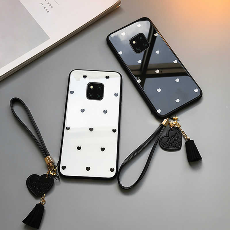 BONVAN Tempered Glass Case For Huawei Mate 20 Pro Mate20 Love Heart Hard Cover For Huawei Mate 20 lite Tassel lanyard Phone case