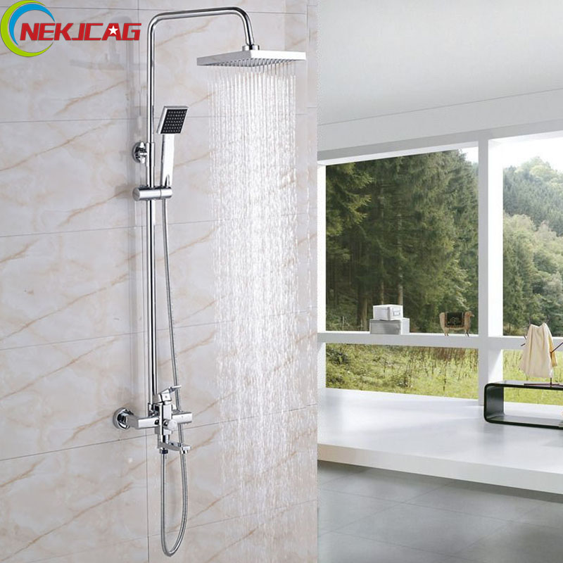Bathroom Shower Set Faucet Chrome Finish ABS Head Shower + Handheld Sprayer + Brass Mixer Tap Shower Faucet fie new shower faucet set bathroom faucet chrome finish mixer tap handheld shower basin faucet