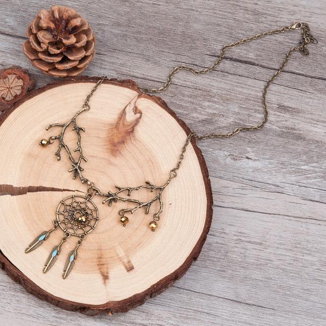 Bronze Feather Vintage Necklace