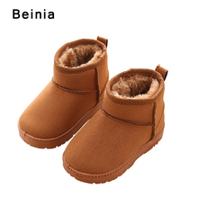 Фотография Beinia Winter Plush Snow Boots Boys Girls Baby Warm Casual Shoes Pu Leather Flat Soft Toddler Shoes Outdoor Kids Shoes For Girl