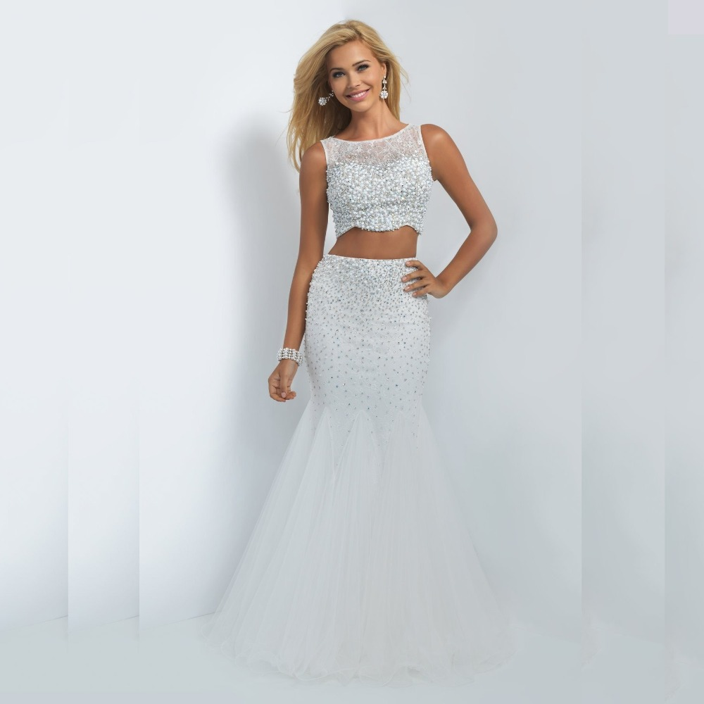Aliexpress.com : Buy Fashion Two Piece Prom Dress Beaded Crop Top ...