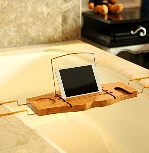 Bamboo and Stainless Steel Bathtub Caddy Bathroom Storage Rack with ...