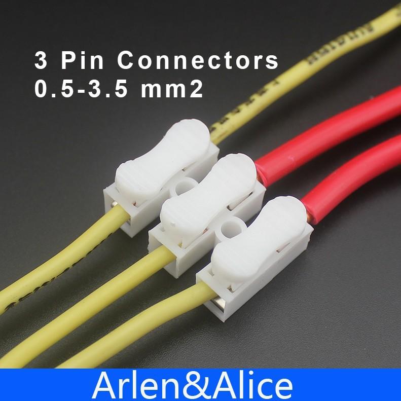 100Pcs 3 pin push quick cable connector terminal Wiring Terminal 10A ...