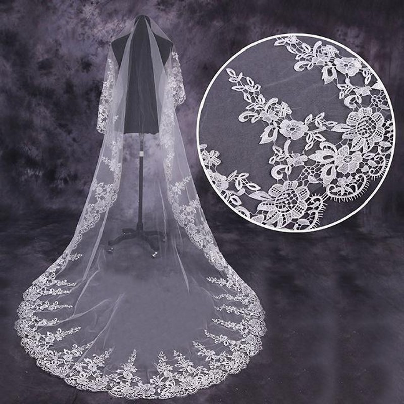 Real Image High Quality Lace Long 3M Wedding Veils Catheral Train One Layer Ivory Applique Long Bridal Veil Wedding Accessories