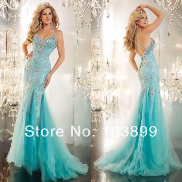 d9d38828698 New Spring Design Amoureux Turquoise Bleu Tulle Dentelle avec Cristaux  Longue Sirène Robes De Bal avec