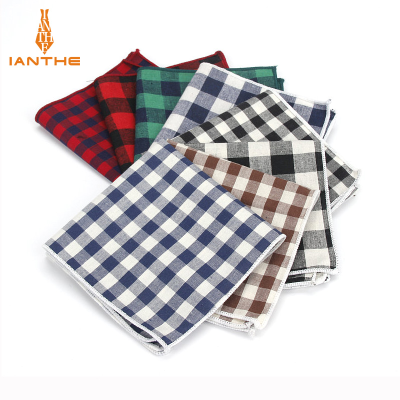 Brand New Men's 100% Cotton Handkerchiefs Woven Plaid Pocket Square Male Wedding Party Handkerchief Vintage Towels Fashion Hanky