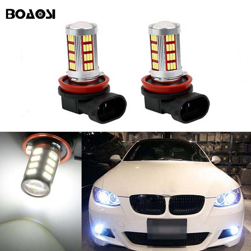 BOAOSI 2x 9006/HB4 LED Car Canbus Bulbs Reflector Mirror Design For Fog Lights For BMW E63 E64 E46 330ci boaosi 1x 9006 hb4 car canbus bulbs reflector mirror design fog lights no error for vw golf 6 mk6 scirocco t5 transporter