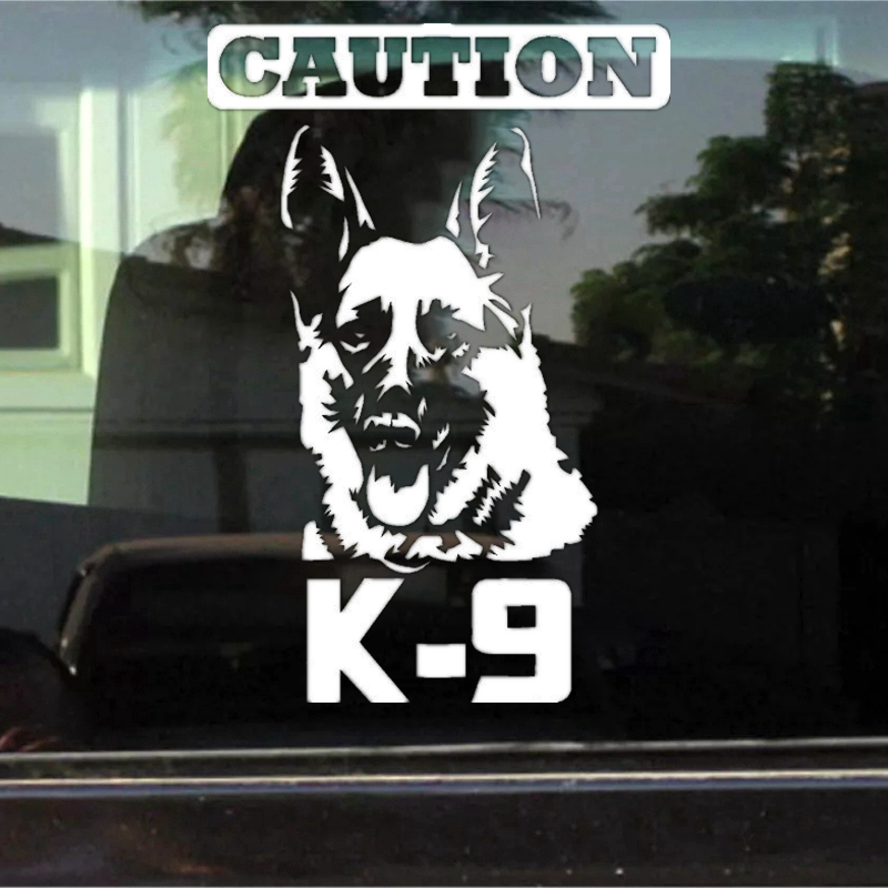 CK2006#15*22cm Caution K9 German Shepherd Funny Car Sticker Vinyl Decal Silver/black Car Auto Stickers For Car Bumper Window
