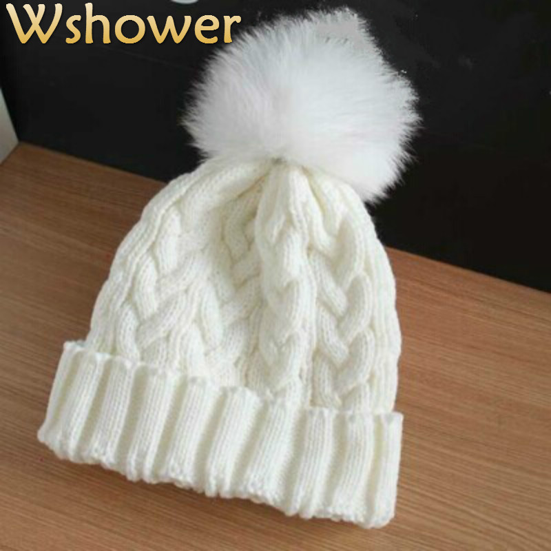 Adult Lady Natural Real Fox Fur Pom Poms Beanie Hats