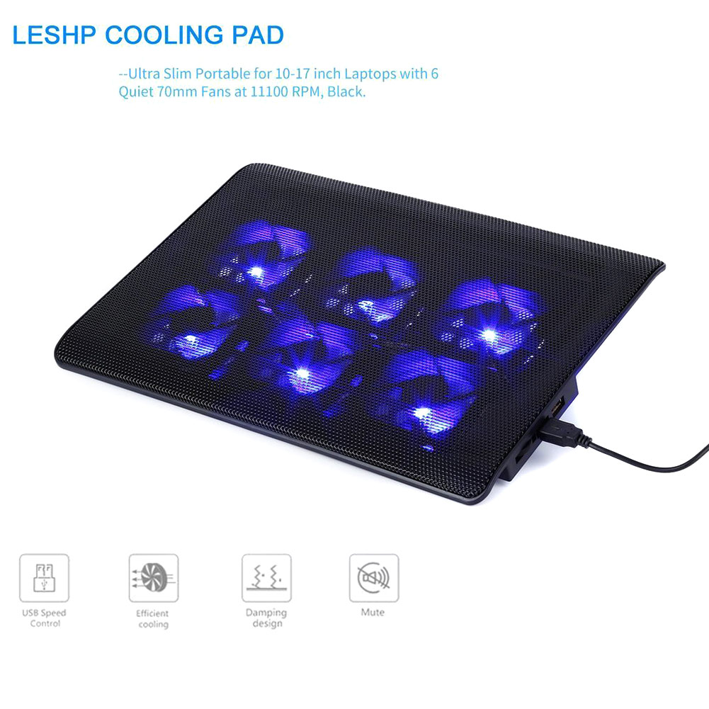 Portable Laptop Silent Cooler With 6 <font><b>Fans</b></font> <font><b>Cooling</b></font> FOR Pad 2 USB Ports Adjustable Speed Computer <font><b>Fan</b></font> Base Plate For <font><b>Notebook</b></font> PC image