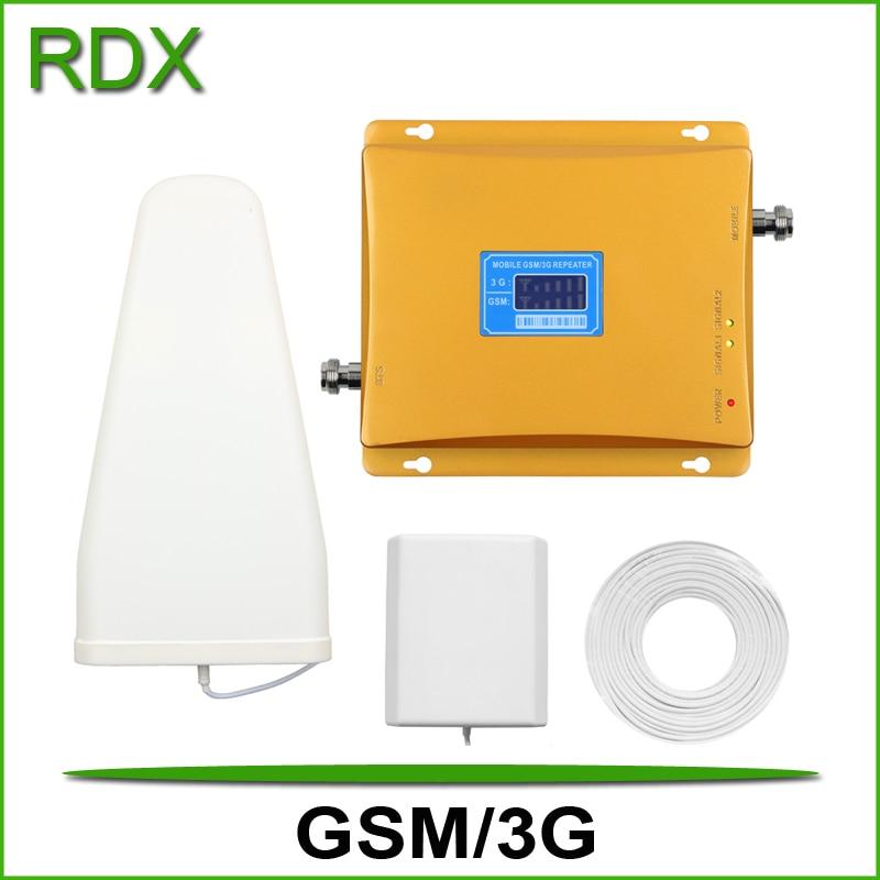 Nouveau répéteur lcd double bande gsm 3g pour téléphone portable gsm900 3g w-cdma 2100 mhz UMTS booster mobile avec antenne de panneau intérieure