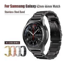 Style Three Link Steel Watch Band For Samsung Gear Sport Stainless Steel Metal Strap For Samsung Gear S2 S3 Classic for People все цены