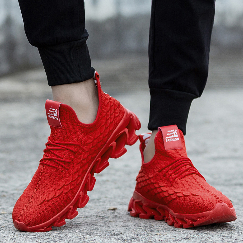 Men's Shoes Contemplative New Mesh Men Casual Shoes Lace-up Summer Woven Outdoor Red Shoes Lightweight Comfortable Sneakers Embossing Breathable Walking