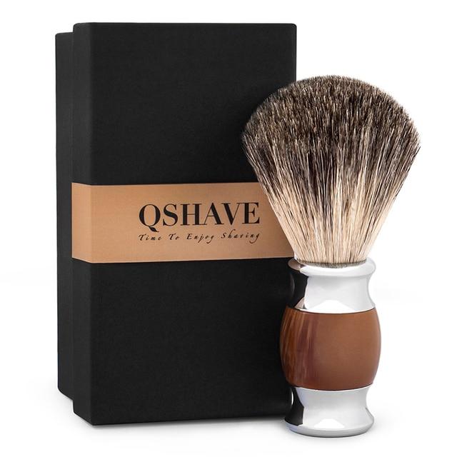 Помазок для бритья Qshave QM3200 металл-дерево с натуральной щетиной