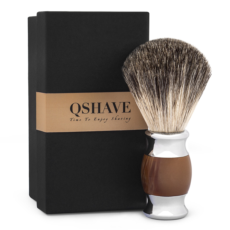 Qshave Man Pure Badger Hair Shaving Brush 100% Original For Double Edge Safety Straight Classic Safety Razor Agate Imitation