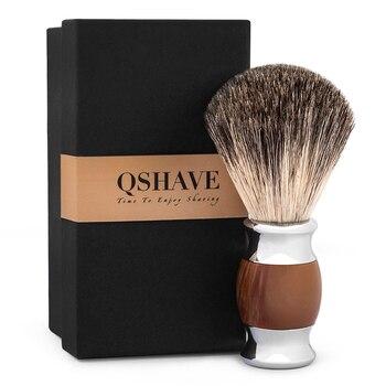 Qshave Man Pure Badger Hair Shaving Brush 100% Original for Double Edge Safety Straight Classic Safety Razor agate Imitation Razor