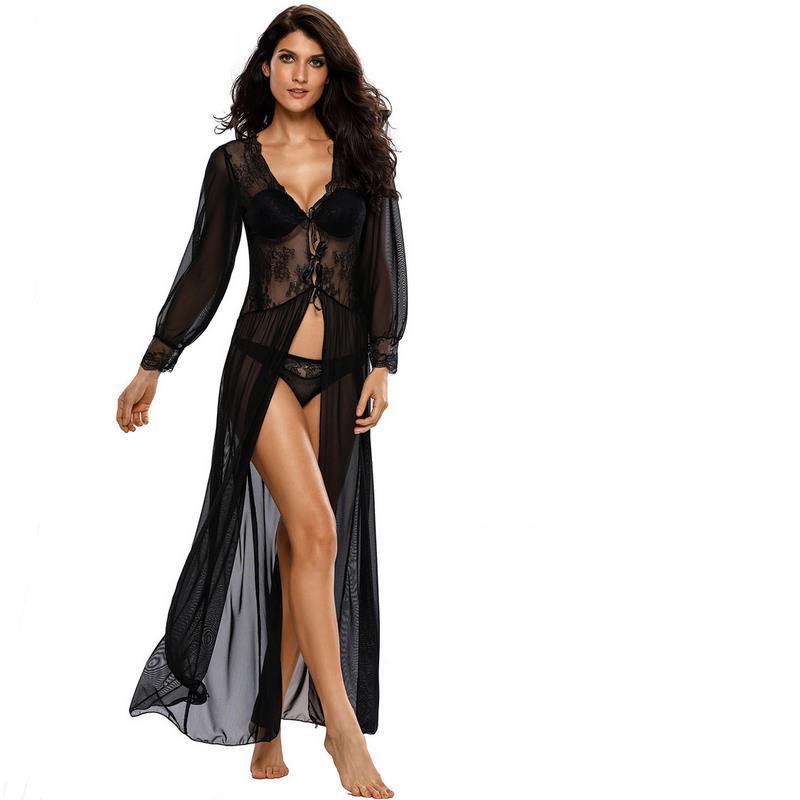 Negro Hollow Casual Home Blues sexy Costura de color puro Cuello en V - Ropa de mujer