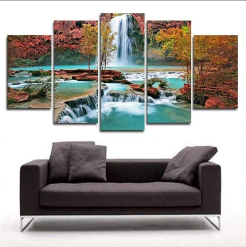 5 Living Room For Panel Wall Painting Art Waterfall Canvas Painting Modular Picture Posters And Prints(No Frame)