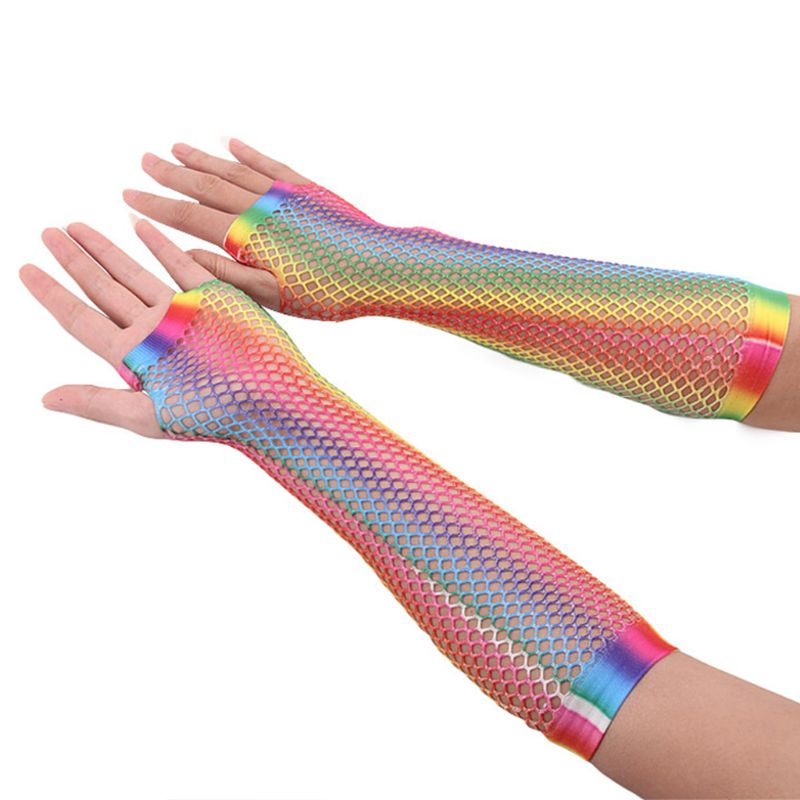 Womens Girls Hollow Out Holes Gloves Rainbow Printed Fingerless Mesh Net Fishnet