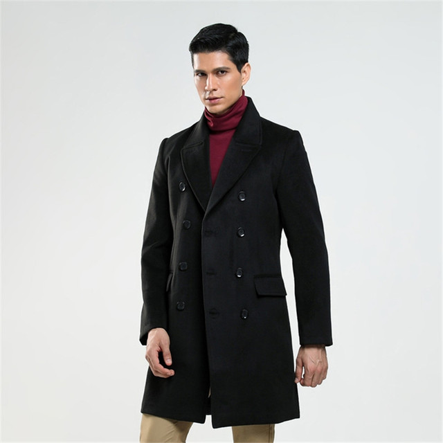 AIMENWANT Custom made men's British fashion S-6XL wool coat Russian man double breasted lake blue trench free shipping Cloth 2