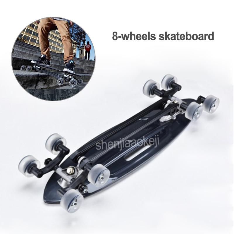 Nouveau Skateboard 8 roues en alliage d'aluminium huit planches à roulettes rondes pour garçons filles et adultes surf de rue ou débutants à apprendre