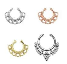 Charming Piercing Body Jewelry Crystal Rhinestones Inlaid Fake Nose Rings Color Titanium Gold Silver Plated(China)