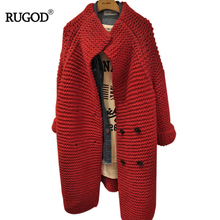 RUGOD Women Solid Red Irregular Loose Cardigans Sweater 2017 Autumn Winter Double Breasted Elegant Casual Female Knitted Sweater