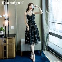Big Size Korean Style Embroidery Floral Dress Women V-neck Spaghetti Strap Print Midi Swing Robe Femme Ete 2019
