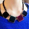 X0405 cuadrados vendimia de la manera patrones geométricos gráfico del bloque del color de terciopelo collar del diseño corto