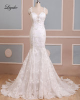 Attarctive Tulle Beading Crystals Mermaid Wedding Dresses Liyuke Appliques Vestido De Noiva Brush Train Lace Up