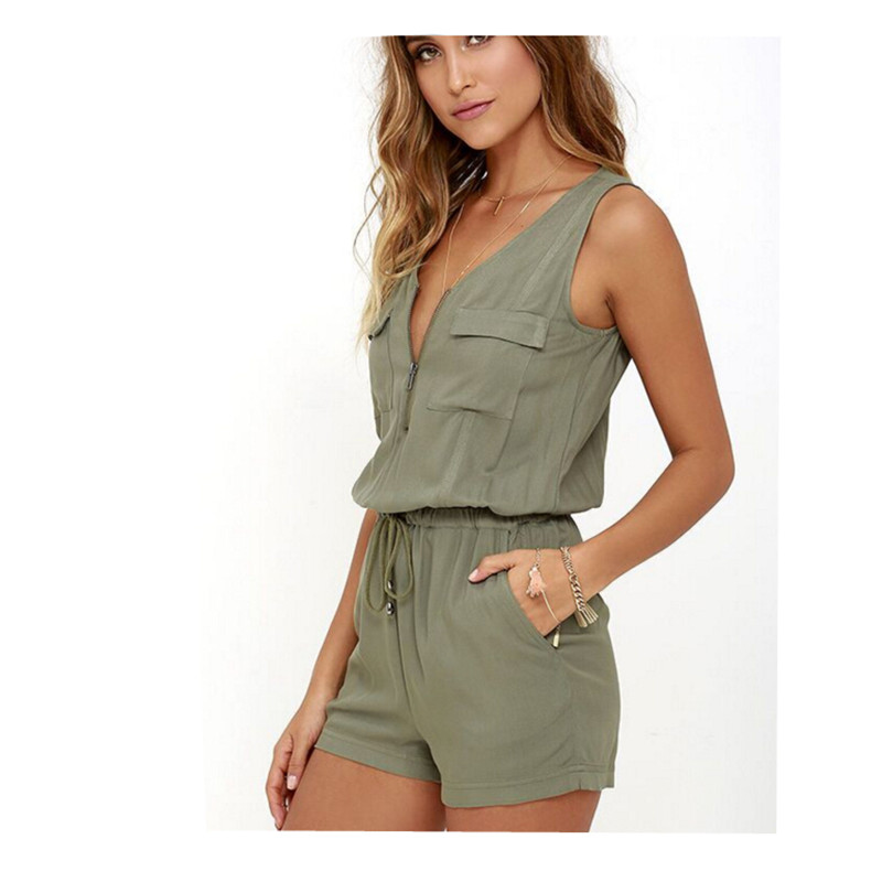 Europe Sexy Solid Sleeveless Zipper Summer Rompers Pocket Women's Sashes Jumpsuit Fashion Beach Drawstring Jumpsuits Shorts