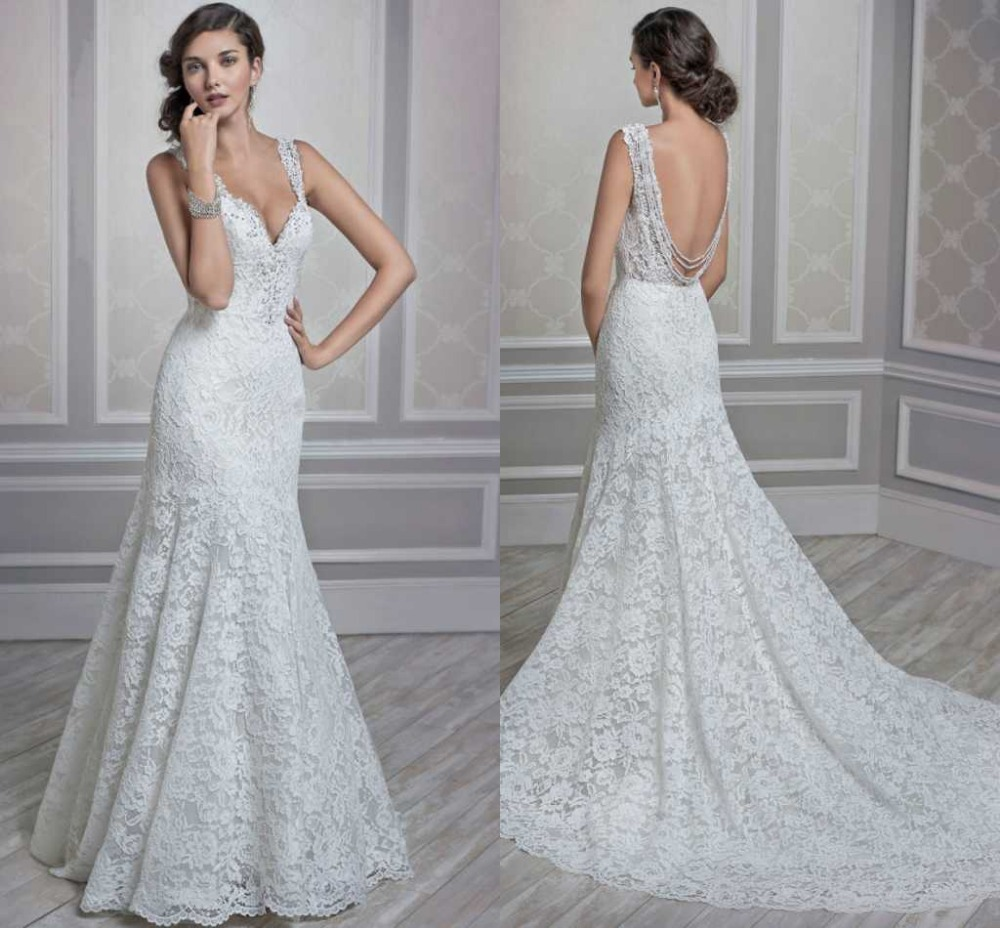aliexpresscom buy latest medieval wedding dresses white lace sexy vineck spaghetti straps long train mermaid style 2015 designer from reliable mermaid