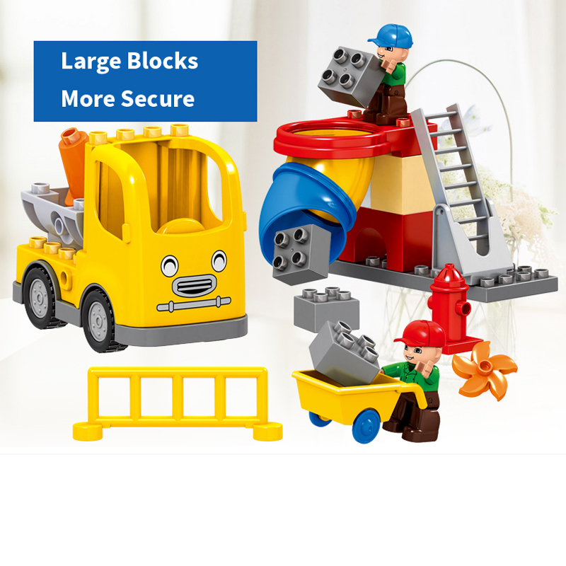 UMEILE 51PCS City Construction Team Worker Truck Crane Educational Brick Set Kids Toys Compatible With Duplo Christmas Gift In Blocks From Hobbies On