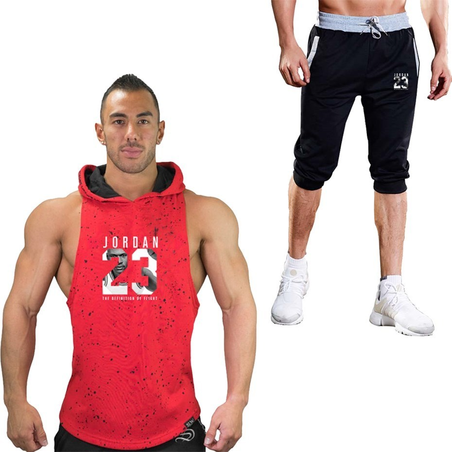 2pcs Summer Men Shorts Set Hoodie Tank Top And Shorts Summer Tracksuit For Men Jogger Short Set Sleeveless Hoodie Tshirt Short