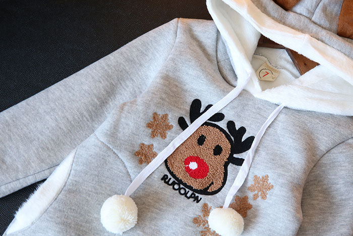 Baby Girl Hoodies Sweater Dress Cartoon Deer Velvet Dress Sweatshirts Kids Girls Winter Dresses Christmas New Wear