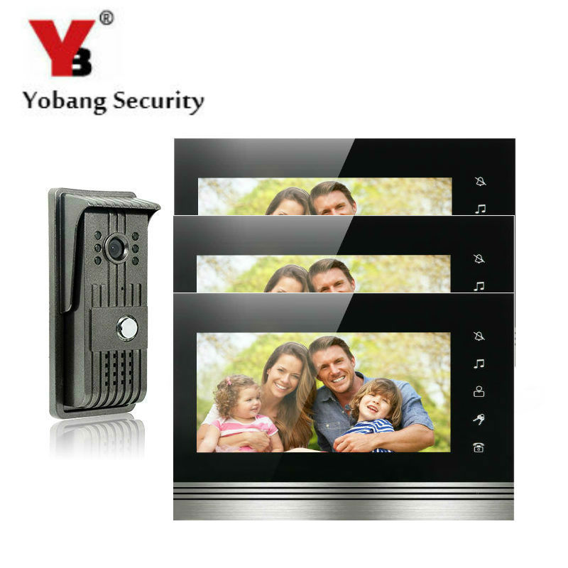 YobangSecurity 7 Inch Color Touch Button Video Door Phone Doorbell Intercom Entry System Kit With Metal Case 1 Camera 3 Monitor