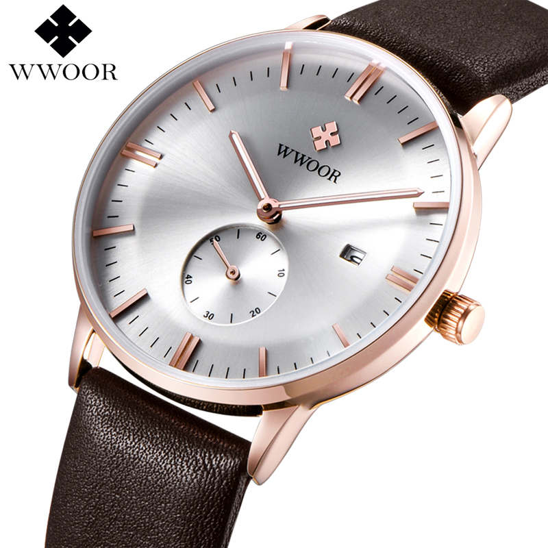 WWOOR Mens Watches Top Brand Luxury Leather Waterproof Clock Men Ultra Thin Quartz Watch Men Casual Sport Date Relogio Masculino autumn winter hats for women knitted beanie hat pom pom cap wool hat with real raccoon fur pompom female skullies beanie hats