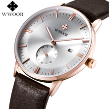 WWOOR Mens Watches Top Brand Luxury Leather Waterproof Clock Men Ultra Thin Quartz Watch Men Casual Sport Date Relogio Masculino