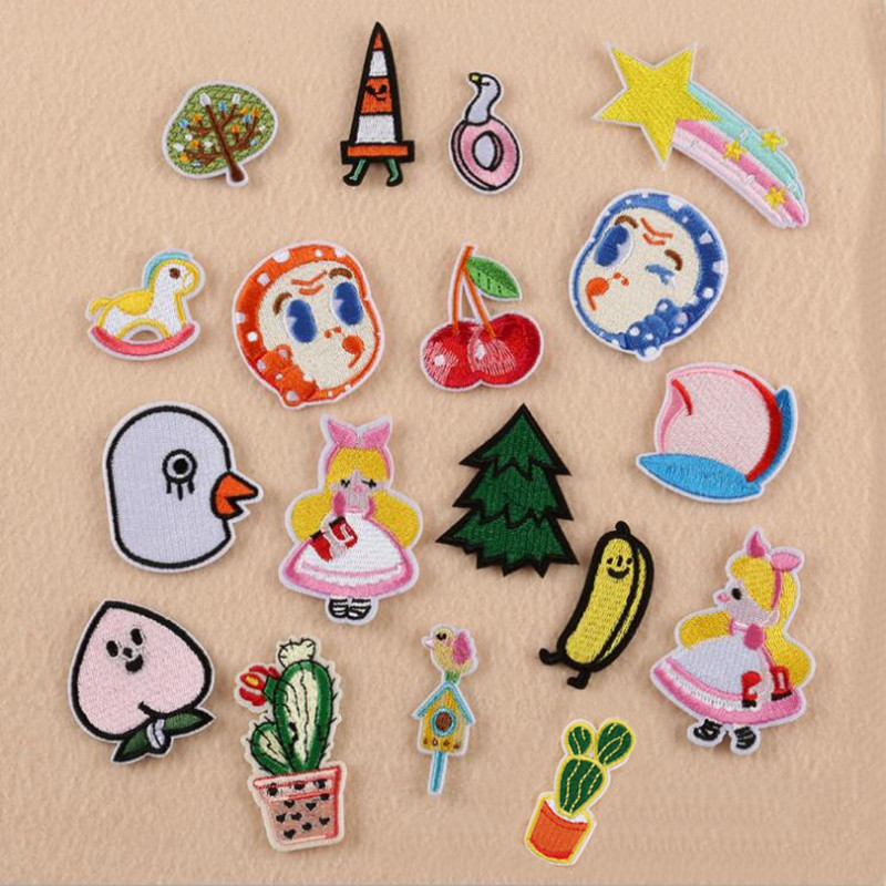 Cartoon Tree And Fruit Plant Badge Repair Patch Embroidered Iron On Patches For Clothing Close Shoes Bags Badges Embroidery DIY