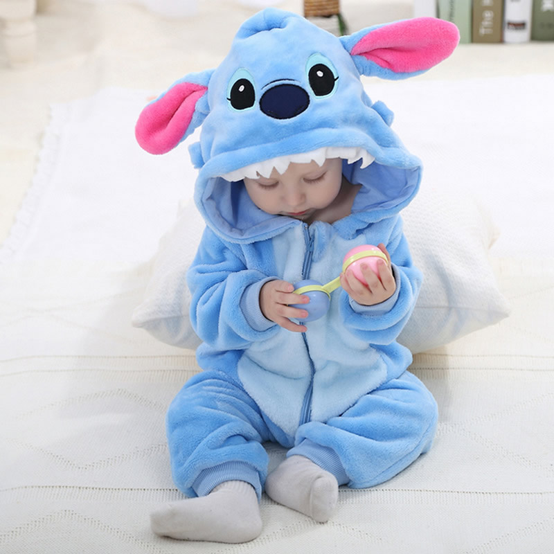 2016 Cute Cartoon Baby Pajama Set Novelty Cotton Baby Rompers Boy Girl Blue Stitch Animal Rompers
