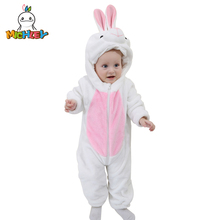 MICHLEY 2019 Baby Romper Pajamas Cartoon Rabbit Flannel Hooded Girl Boy Outfits Jumpsuit Newborn Unisex Collar Coverall XYZ-WR