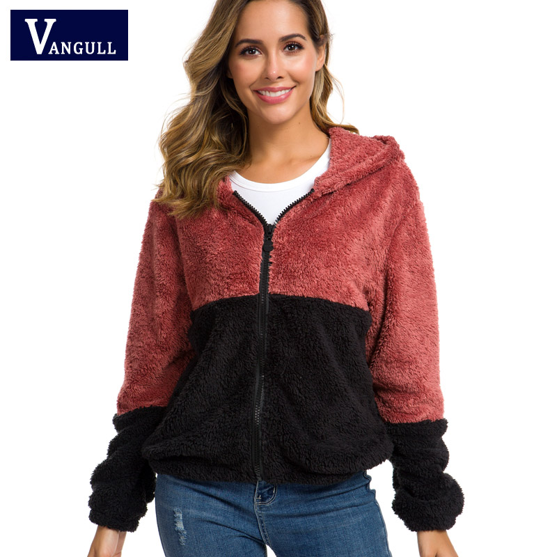 Vangull Hooded Teddy   Jacket   Women   Basic     Jackets   And Coats Casual Autumn Colorblock Clothing Thick Zipper Long Sleeve Outerwear