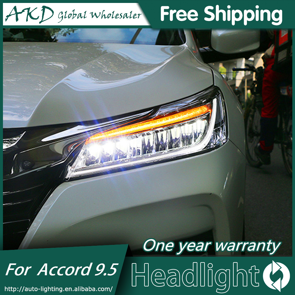 Akd Car Styling For Honda Accord Headlights 2016 2017 New 9 5 Led Headlight Drl Bi Xenon Lens High Low Beam Parking In Light Embly From