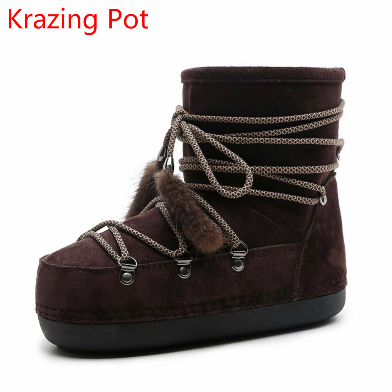 2018 Hot Sale Cow Suede Round Toe Flat with Bowtie Brand Winter Snow Boots Runway Keep Warm Luxury Lace Up Women Ankle Boots L00 cool pu plain round toe men s snow boots sale