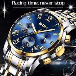 BIDEN Top Brand Luxury Chronograph Date Mens Watches Military Sport Male Clock Steel Strap Business Wrist Quartz Men Watch