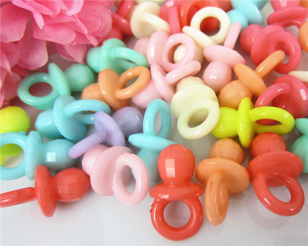 50Pcs Mixed Small Plastic Pacifiers Baby Shower Favors For Table Game Party Cake Decorations 12 x 20mm