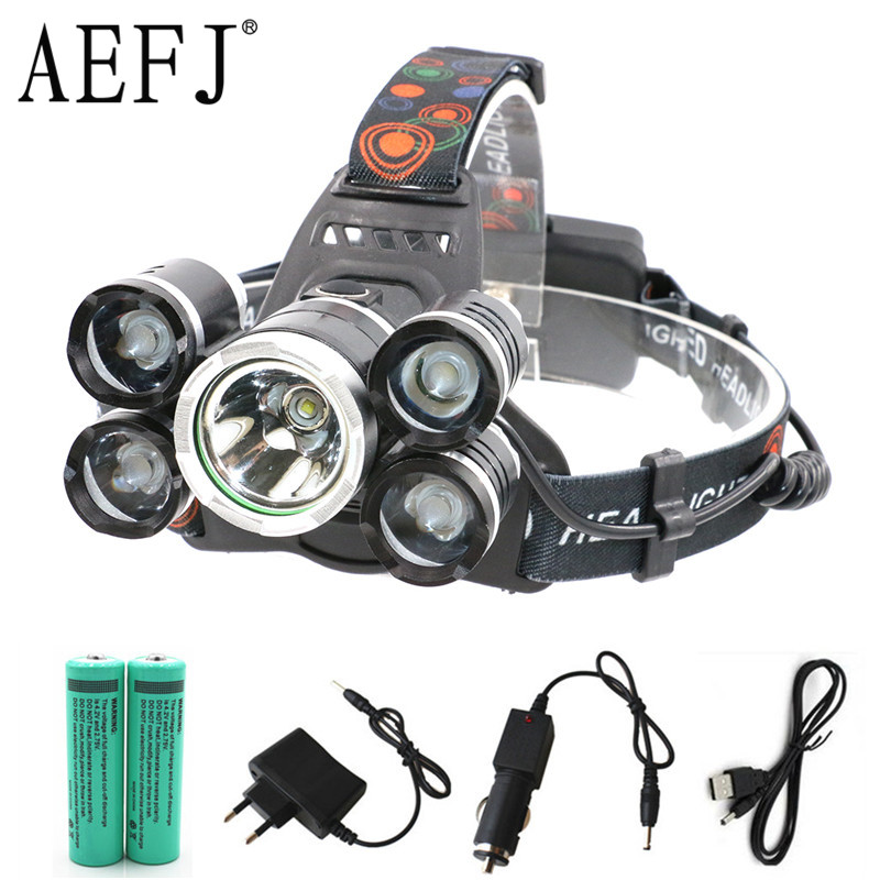 15000Lm XML T6 5 LED Headlamp Headlight Head Lamp Light 4 mode torch Flashlight fishing Lights 18650 battery+AC Car USB Charger t6 xpe led head lamp 50w zoomable headlamp 5leds headlight tube torch led flashlight car charger 18650 batteries high lights