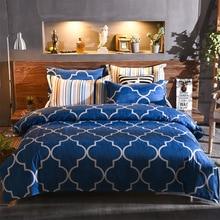 Europe,America,Japan blue and white Stripe Square series Sheet Full Size Pillowcase&Duvet Cover Sets 3&4 pcs bedding set luxury